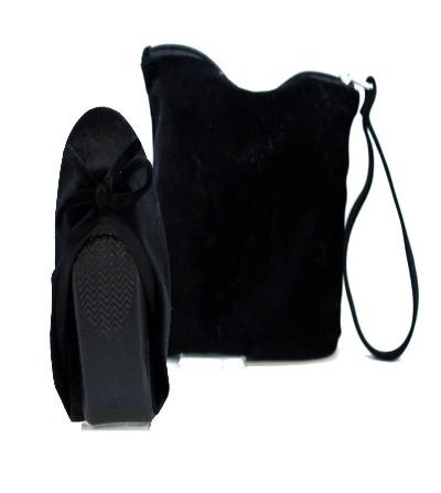 XTI 27537 Bailarinas plegables , bolso de viaje antelina NEGRO