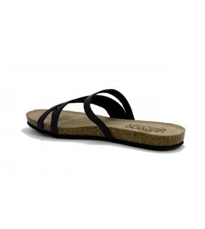 OH MY SANDALS 4678 Sandalia piel , cuña baja y plataforma , ajueste velcro , COMBI MARRON ROBLE